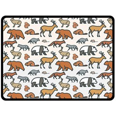 Wild Animal Pattern Cute Wild Animals Double Sided Fleece Blanket (Large)