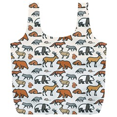 Wild Animal Pattern Cute Wild Animals Full Print Recycle Bags (L)