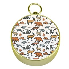 Wild Animal Pattern Cute Wild Animals Gold Compasses