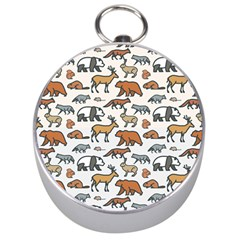 Wild Animal Pattern Cute Wild Animals Silver Compasses