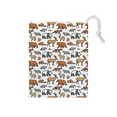 Wild Animal Pattern Cute Wild Animals Drawstring Pouches (Medium)
