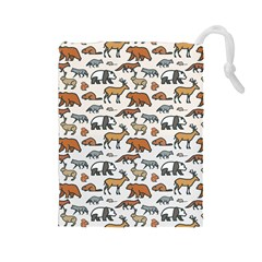 Wild Animal Pattern Cute Wild Animals Drawstring Pouches (Large)