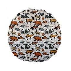 Wild Animal Pattern Cute Wild Animals Standard 15  Premium Flano Round Cushions