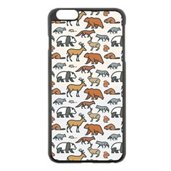 Wild Animal Pattern Cute Wild Animals Apple iPhone 6 Plus/6S Plus Black Enamel Case