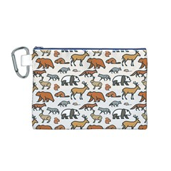 Wild Animal Pattern Cute Wild Animals Canvas Cosmetic Bag (M)