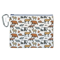 Wild Animal Pattern Cute Wild Animals Canvas Cosmetic Bag (L)