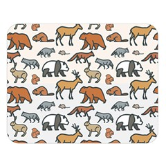 Wild Animal Pattern Cute Wild Animals Double Sided Flano Blanket (Large)