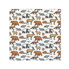 Wild Animal Pattern Cute Wild Animals Small Satin Scarf (Square)