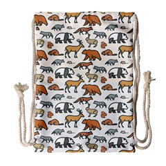 Wild Animal Pattern Cute Wild Animals Drawstring Bag (Large)