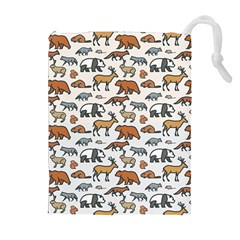 Wild Animal Pattern Cute Wild Animals Drawstring Pouches (Extra Large)