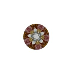 Elegant Antique Pink Kaleidoscope Flower Gold Chic Stylish Classic Design 1  Mini Buttons