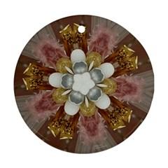 Elegant Antique Pink Kaleidoscope Flower Gold Chic Stylish Classic Design Ornament (Round)
