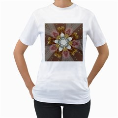 Elegant Antique Pink Kaleidoscope Flower Gold Chic Stylish Classic Design Women s T-Shirt (White) (Two Sided)