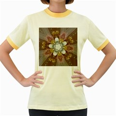 Elegant Antique Pink Kaleidoscope Flower Gold Chic Stylish Classic Design Women s Fitted Ringer T-Shirts