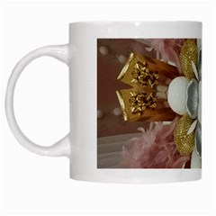 Elegant Antique Pink Kaleidoscope Flower Gold Chic Stylish Classic Design White Mugs