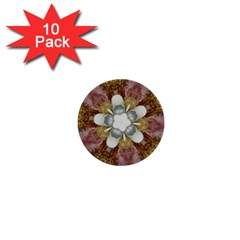Elegant Antique Pink Kaleidoscope Flower Gold Chic Stylish Classic Design 1  Mini Buttons (10 pack)