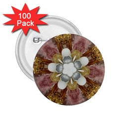 Elegant Antique Pink Kaleidoscope Flower Gold Chic Stylish Classic Design 2.25  Buttons (100 pack)
