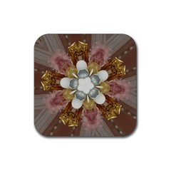 Elegant Antique Pink Kaleidoscope Flower Gold Chic Stylish Classic Design Rubber Coaster (Square)