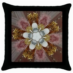Elegant Antique Pink Kaleidoscope Flower Gold Chic Stylish Classic Design Throw Pillow Case (Black)