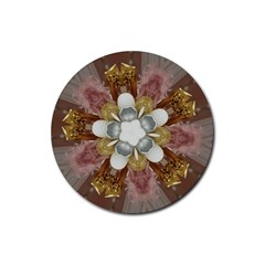 Elegant Antique Pink Kaleidoscope Flower Gold Chic Stylish Classic Design Rubber Round Coaster (4 pack)