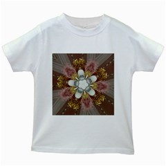 Elegant Antique Pink Kaleidoscope Flower Gold Chic Stylish Classic Design Kids White T-Shirts