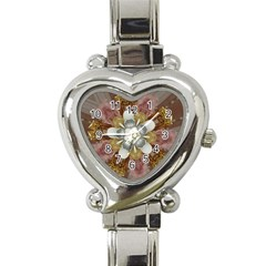Elegant Antique Pink Kaleidoscope Flower Gold Chic Stylish Classic Design Heart Italian Charm Watch