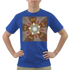 Elegant Antique Pink Kaleidoscope Flower Gold Chic Stylish Classic Design Dark T-Shirt