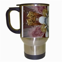Elegant Antique Pink Kaleidoscope Flower Gold Chic Stylish Classic Design Travel Mugs (White)