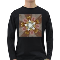 Elegant Antique Pink Kaleidoscope Flower Gold Chic Stylish Classic Design Long Sleeve Dark T-Shirts