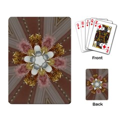 Elegant Antique Pink Kaleidoscope Flower Gold Chic Stylish Classic Design Playing Card