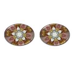 Elegant Antique Pink Kaleidoscope Flower Gold Chic Stylish Classic Design Cufflinks (Oval)