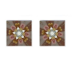 Elegant Antique Pink Kaleidoscope Flower Gold Chic Stylish Classic Design Cufflinks (Square)