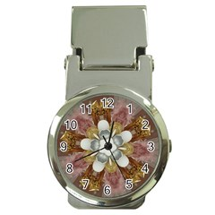 Elegant Antique Pink Kaleidoscope Flower Gold Chic Stylish Classic Design Money Clip Watches