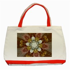 Elegant Antique Pink Kaleidoscope Flower Gold Chic Stylish Classic Design Classic Tote Bag (Red)