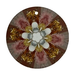 Elegant Antique Pink Kaleidoscope Flower Gold Chic Stylish Classic Design Round Ornament (Two Sides)