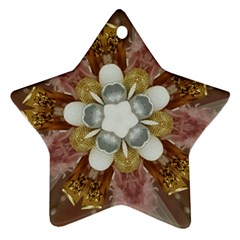 Elegant Antique Pink Kaleidoscope Flower Gold Chic Stylish Classic Design Star Ornament (Two Sides)