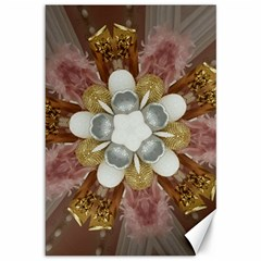 Elegant Antique Pink Kaleidoscope Flower Gold Chic Stylish Classic Design Canvas 12  x 18