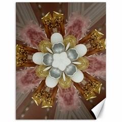Elegant Antique Pink Kaleidoscope Flower Gold Chic Stylish Classic Design Canvas 18  x 24