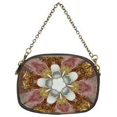 Elegant Antique Pink Kaleidoscope Flower Gold Chic Stylish Classic Design Chain Purses (Two Sides)
