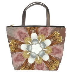 Elegant Antique Pink Kaleidoscope Flower Gold Chic Stylish Classic Design Bucket Bags