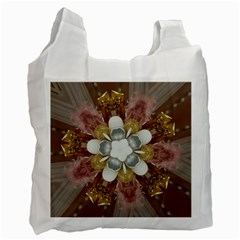 Elegant Antique Pink Kaleidoscope Flower Gold Chic Stylish Classic Design Recycle Bag (Two Side)