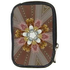 Elegant Antique Pink Kaleidoscope Flower Gold Chic Stylish Classic Design Compact Camera Cases