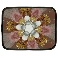 Elegant Antique Pink Kaleidoscope Flower Gold Chic Stylish Classic Design Netbook Case (XL)