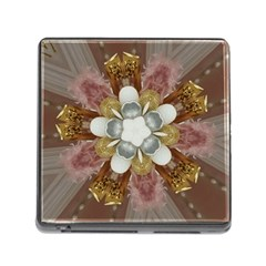 Elegant Antique Pink Kaleidoscope Flower Gold Chic Stylish Classic Design Memory Card Reader (Square)