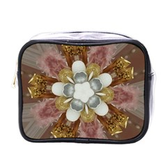Elegant Antique Pink Kaleidoscope Flower Gold Chic Stylish Classic Design Mini Toiletries Bags