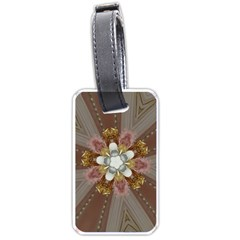 Elegant Antique Pink Kaleidoscope Flower Gold Chic Stylish Classic Design Luggage Tags (One Side)