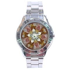 Elegant Antique Pink Kaleidoscope Flower Gold Chic Stylish Classic Design Stainless Steel Analogue Watch