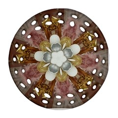 Elegant Antique Pink Kaleidoscope Flower Gold Chic Stylish Classic Design Round Filigree Ornament (2Side)