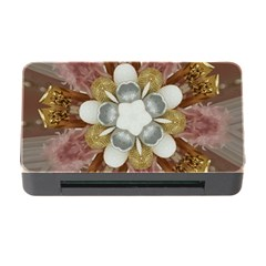 Elegant Antique Pink Kaleidoscope Flower Gold Chic Stylish Classic Design Memory Card Reader with CF