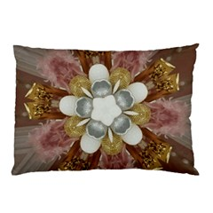 Elegant Antique Pink Kaleidoscope Flower Gold Chic Stylish Classic Design Pillow Case (Two Sides)